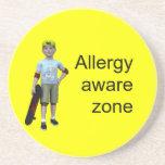 Allergy aware zone beverage coaster