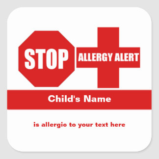 Allergy Medical Alert Custom Square Sticker