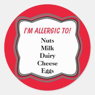 Allergy Warning Alert Classic Round Sticker