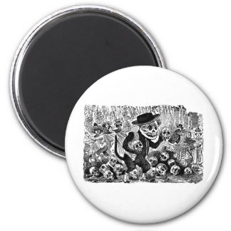 Alley Cat Calavera c. early 1900's Mexico. 2 Inch Round Magnet