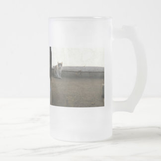 Alley Cat Dusty Days Parking Lot Feline Frosted Glass Beer Mug