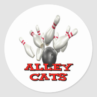 Alley Cats Bowling Classic Round Sticker