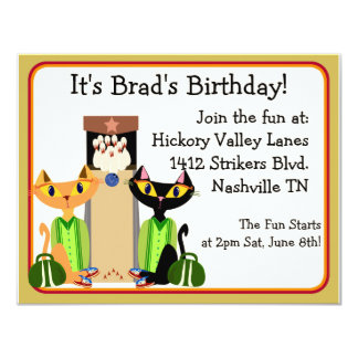 Alley Cats Bowling Party Card