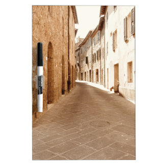 Alley in old Tuscany village . Pienza, Italy Dry-Erase Board