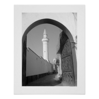 Alley Near Mosque (B&W) Poster
