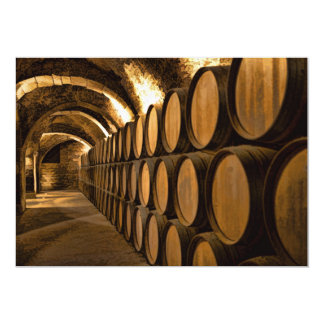 """Alley of Barrels at the Winery 5"""" X 7"""" Invitation Card"""