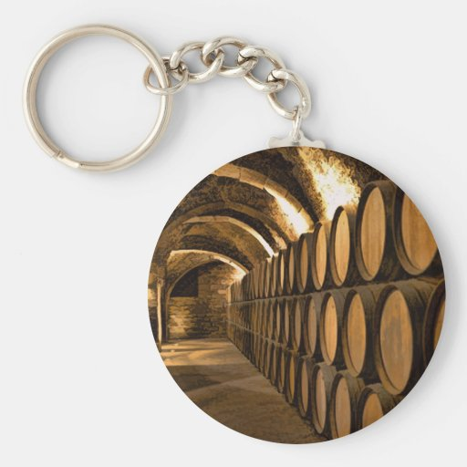 Alley of Barrels at the Winery Keychain