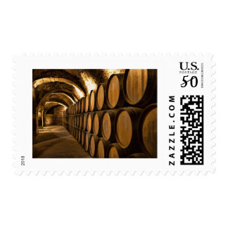 Alley of Barrels at the Winery Postage
