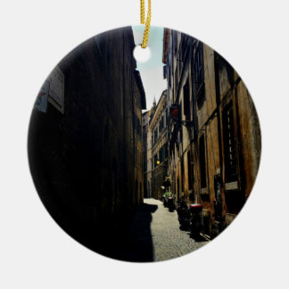 Alley Themed, A Narrow Alley With Sun On One Side Double-Sided Ceramic Round Christmas Ornament