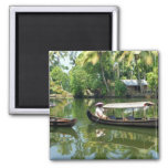 Alleypey backwaters, india 2 inch square magnet