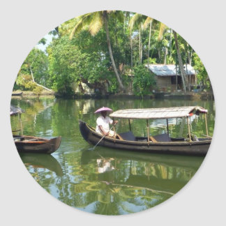 Alleypey backwaters, india classic round sticker
