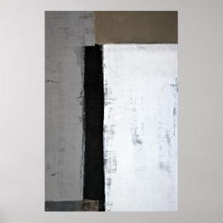 """""""Allí es"""" arte abstracto del gris y de Brown Póster"""