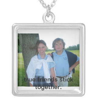 allie&ryon, true friends stick together. silver plated necklace