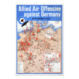 Allied Air Offensive Germany Vintage Poster Photo Print