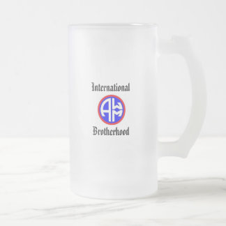 Allied War Machine International Brotherhood Frosted Glass Beer Mug