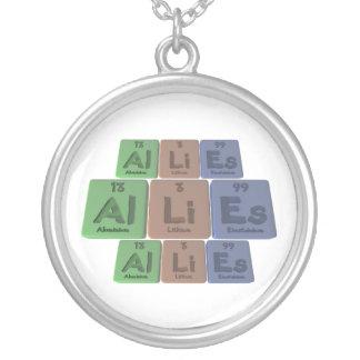 Allies-Al-Li-Es-Aluminium-Lithium-Einsteinium Round Pendant Necklace