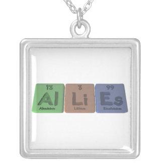Allies-Al-Li-Es-Aluminium-Lithium-Einsteinium Square Pendant Necklace