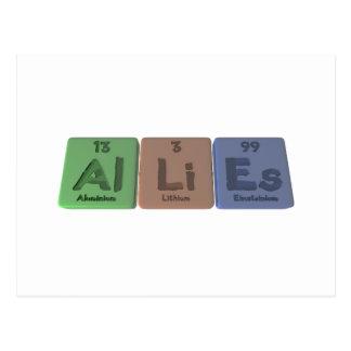 Allies-Al-Li-Es-Aluminium-Lithium-Einsteinium Postcard