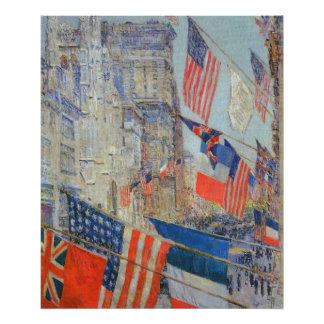 Allies Day, May 1917 by Childe Hassam, Vintage Art Poster
