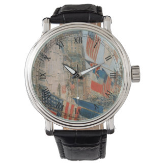 Allies Day, May 1917 by Childe Hassam, Vintage Art Wristwatch