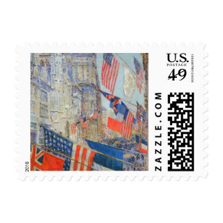 Allies Day May 1917 Hassam Vintage Impressionism Postage Stamps