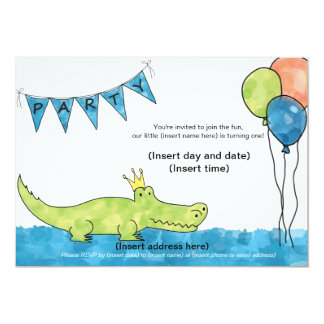 Alligator 1st Birthday Party Invitation