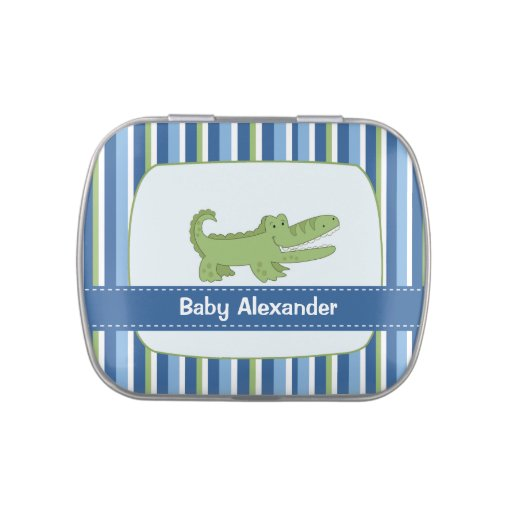 Alligator Add Your Own Text Mint Favor Tin Jelly Belly Candy Tins