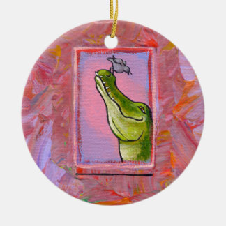 Alligator and bird balance of power fun unique art ornament