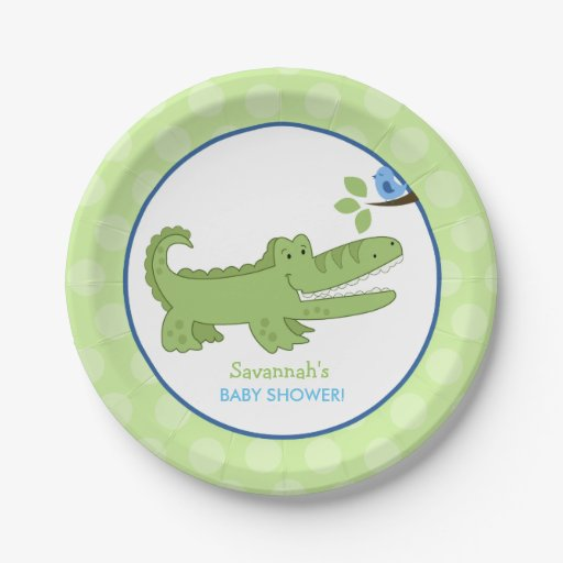 Alligator and Blue Bird Baby Shower Paper Plate