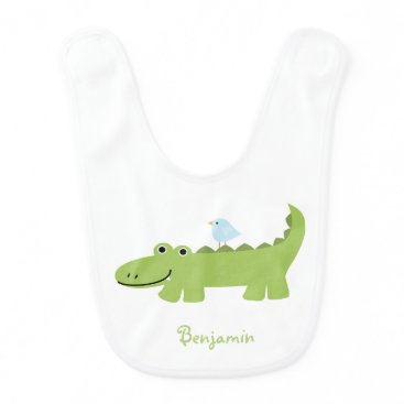 heartlocked Alligator and Blue Bird Personalized Bib
