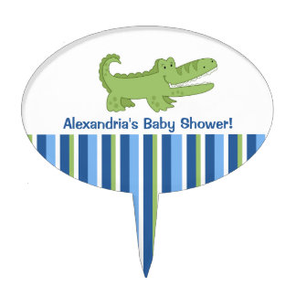 Alligator Baby Shower Cake Topper Pick