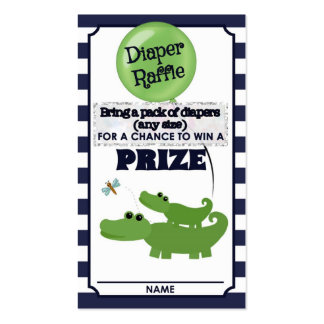 Alligator Baby Shower DIAPER RAFFLE TICKETS Blue Business Card Templates