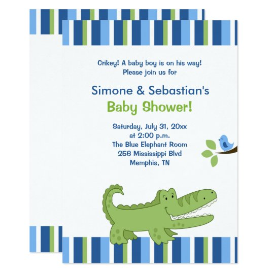 Alligator Baby Shower Invitation Blue Green 4x6