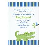 Alligator Baby Shower Invitation Blue/Green 4x6