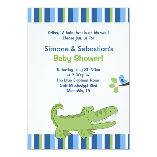 Alligator Baby Shower Invitation Blue/Green 4x6