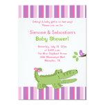 Alligator Baby Shower Invitation Pink/Green 5x7