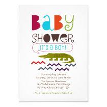 "Alligator Baby Shower Invitations 5"" X 7"" Invitation Card"