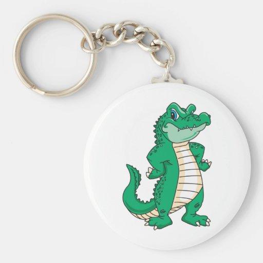 Alligator Basic Round Button Keychain