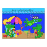 "Alligator Beach Party Birthday Invitation 5"" X 7"" Invitation Card"