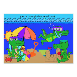 Alligator Beach Party Swimming Birthday Invitation