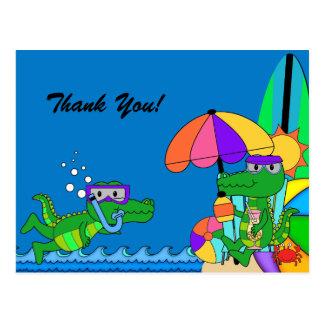 Alligator Beach Swimming Birthday Thank You Postcard
