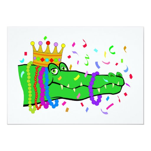 Alligator Beads Mardi Gras Party 5x7 Paper Invitation Card