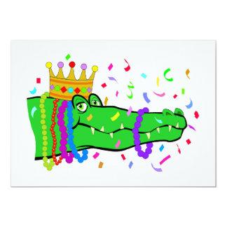 Alligator Beads Mardi Gras Party Card