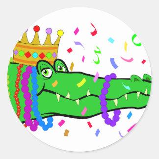 Alligator Beads Mardi Gras Round Sticker