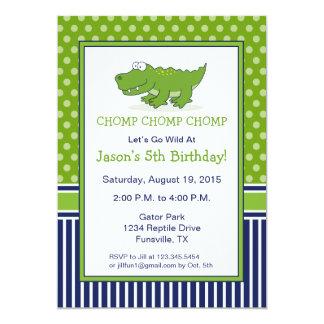 Alligator Birthday Party Invitation Blue and Green