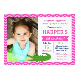 Alligator Birthday Party Invitations for Girl