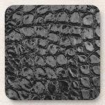 Alligator Black Faux Leather Beverage Coaster