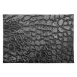 Alligator Black Faux Leather Cloth Placemat