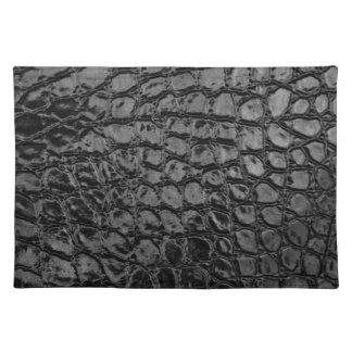 Alligator Black Faux Leather Cloth Place Mat