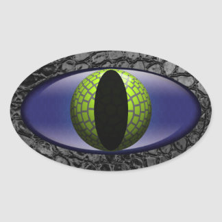 Alligator Black Green Faux Leather Eye Oval Sticker
